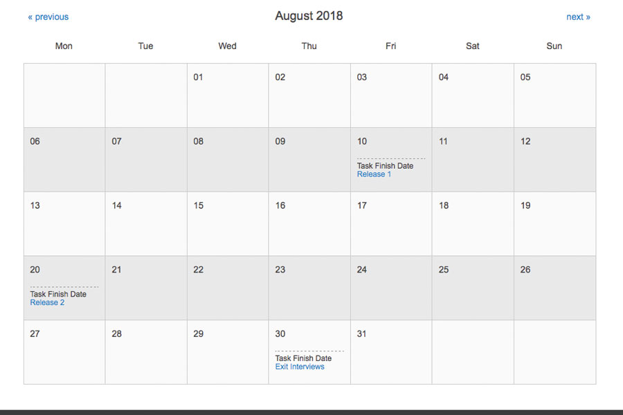 Review key events in the calendar.